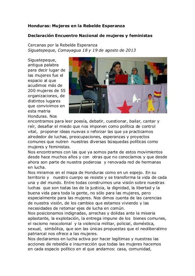 Honduras: Mujeres en la Rebelde Esperanza Declaración Encuentro Nacional de mujeres y feministas Cercanas por la Rebelde E...