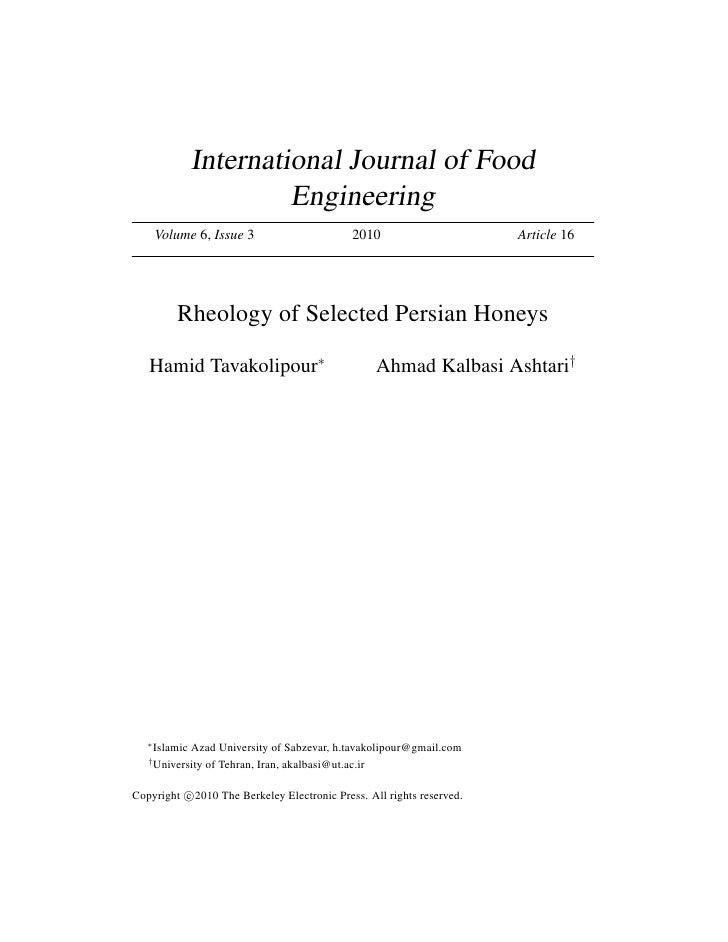 International Journal of Food                       Engineering       Volume 6, Issue 3                      2010         ...