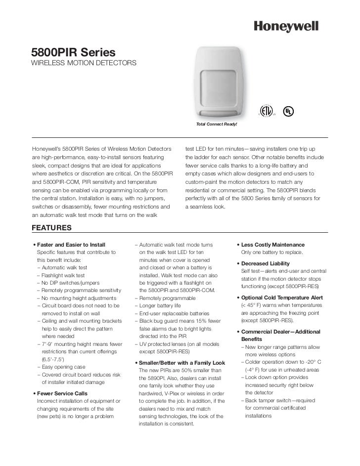 5800PIR SeriesWIRELESS MOTION DETECTORS                                                                       Total Connec...