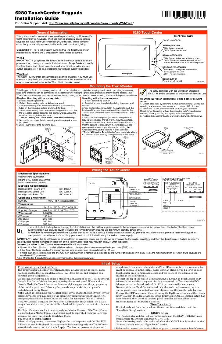 Honeywell 6280-install-guide
