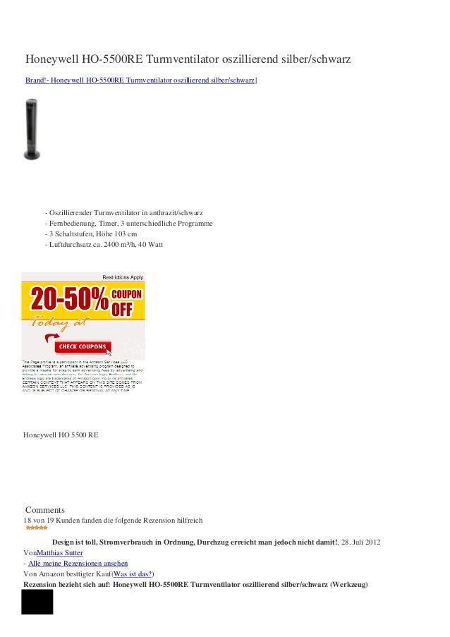 Honeywell HO-5500RE Turmventilator oszillierend silber/schwarzBrand!- Honeywell HO-5500RE Turmventilator oszillierend silb...