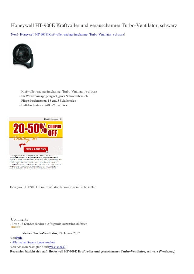 Honeywell HT-900E Kraftvoller und geräuscharmer Turbo-Ventilator, schwarzNew!- Honeywell HT-900E Kraftvoller und geräuscha...