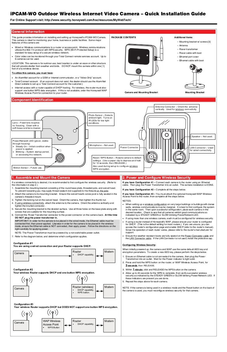 Honeywell ipcam-wo-quick-install-guide