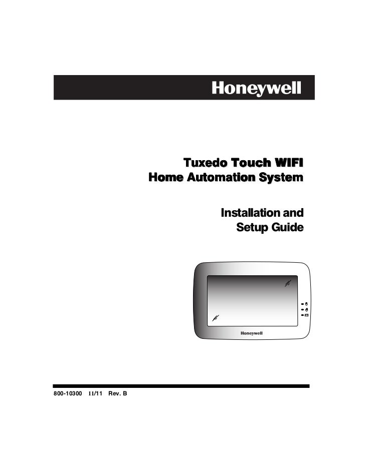 Tuxedo Touch WIFI                           Home Automation System                                     Installation and   ...