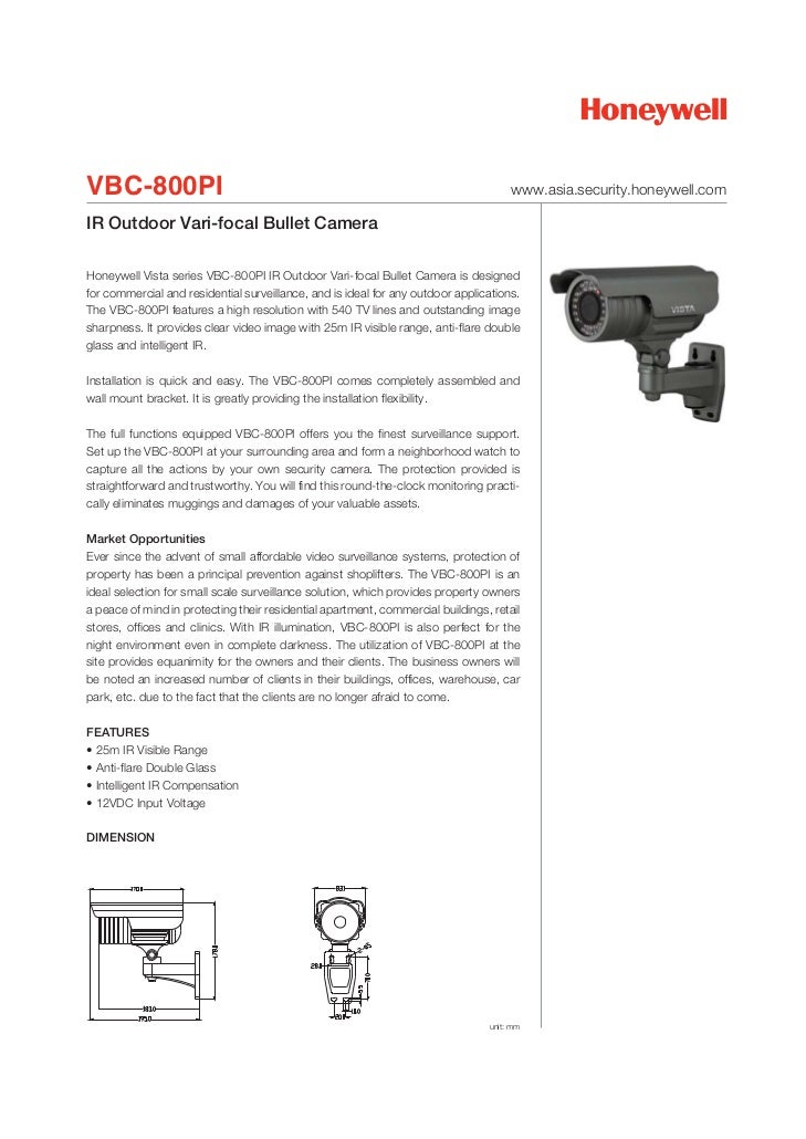 VBC-800PI                                                                            www.asia.security.honeywell.comIR Out...
