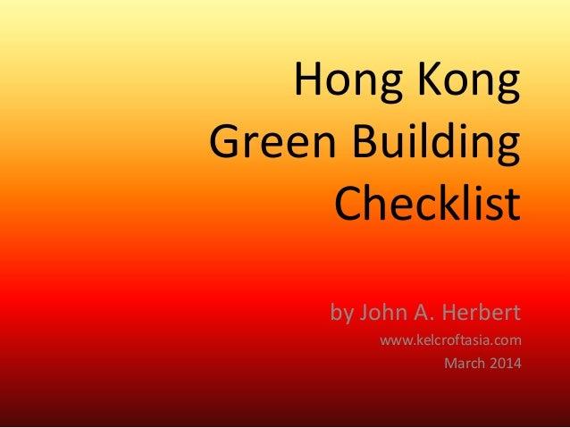 Hong Kong green building checklist