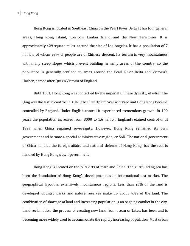 Hong kong report