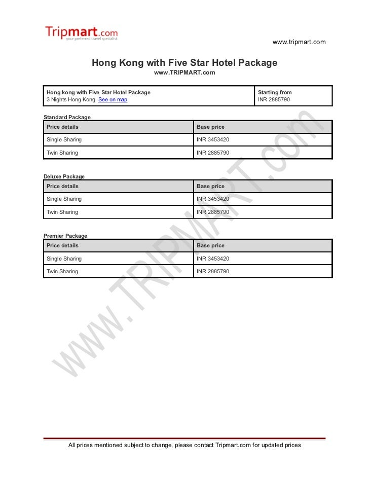 Hong Kong with five star hotel package