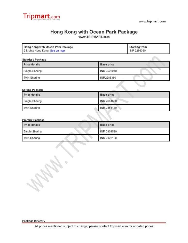 Hong Kong with ocean park package