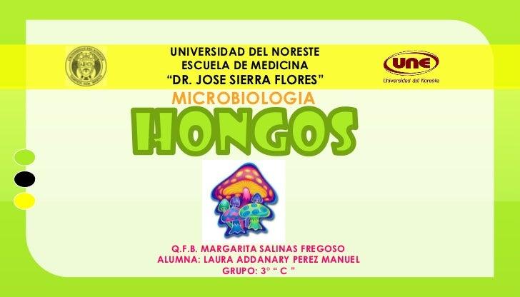 """UNIVERSIDAD DEL NORESTE   ESCUELA DE MEDICINA """"DR. JOSE SIERRA FLORES""""  MICROBIOLOGIA  Q.F.B. MARGARITA SALINAS FREGOSOALU..."""
