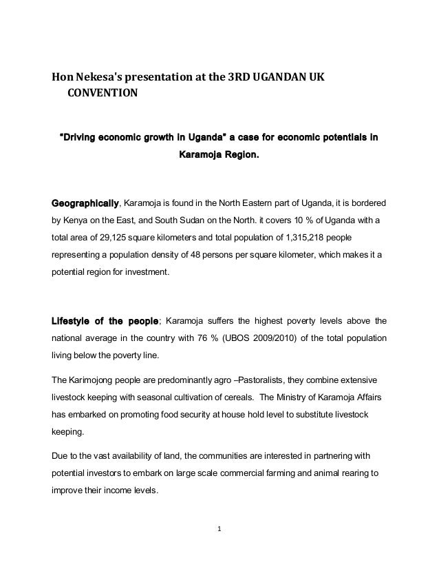 "Hon Nekesa's presentation at the 3RD UGANDAN UK CONVENTION  ""Driving economic growth in Uganda"" a case for economic potent..."