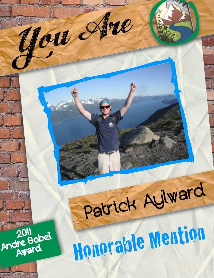 Honorable Mention Winner- Andre Sobel Award 2011