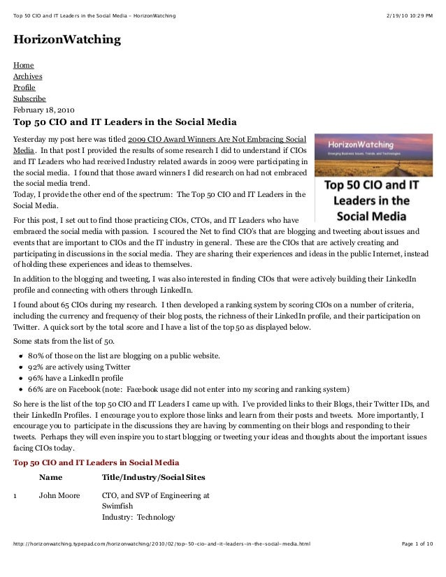 Top 50 CIO and IT Leaders in the Social Media - HorizonWatching  2/19/10 10:29 PM  HorizonWatching Home Archives Profile S...