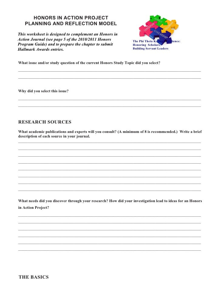 HONORS IN ACTION PROJECT    PLANNING AND REFLECTION MODEL  This worksheet is designed to complement an Honors in Action Jo...