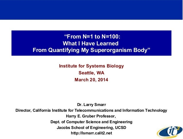 """From N=1 to N=100: What I Have Learned From Quantifying My Superorganism Body"" Institute for Systems Biology Seattle, WA ..."