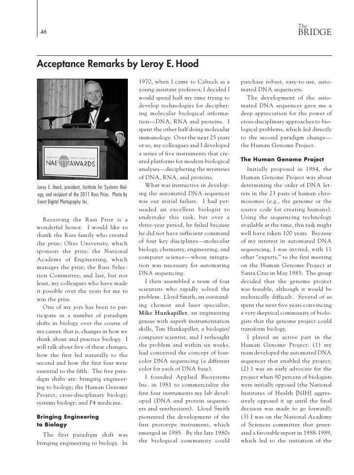 Dr. Lee Hood's Russ Prize Acceptance Remarks