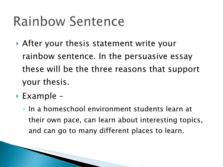 sentence after thesis statement