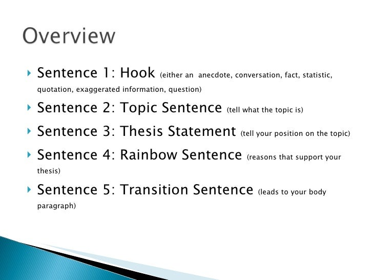 5 paragraph essay introduction hook Writing the five paragraph essay  reverse hook which ties in with the transitional hook at the end of the introductory paragraph the topic for this paragraph .