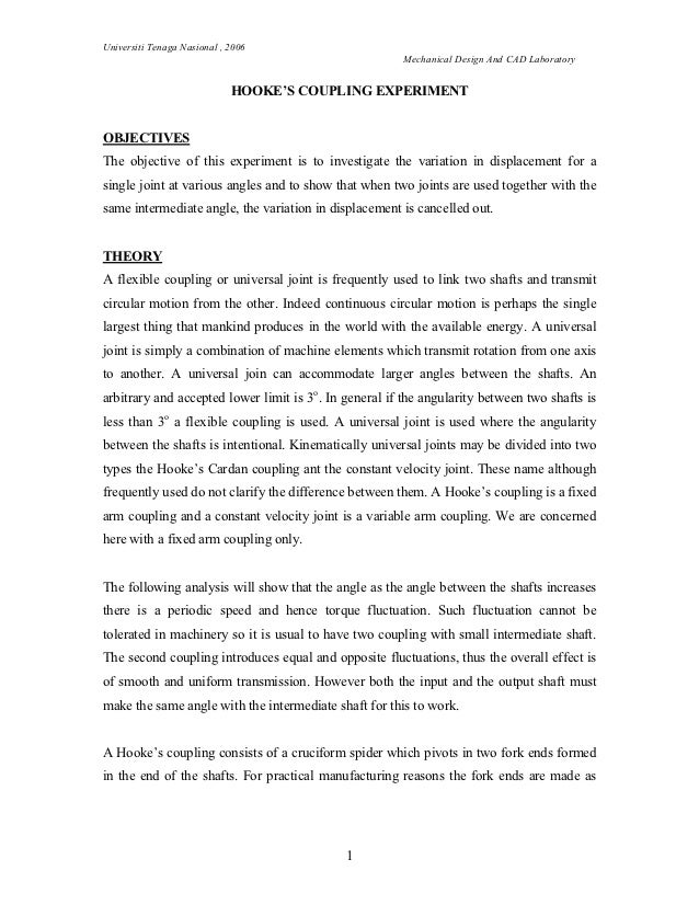 hookes coupling experiment report Lab, we carried out a textbook example of the suzuki reaction, coupling an aryl bromide with the possible sources of contamination for this experiment are.