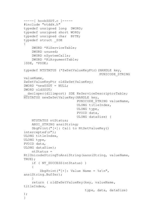 Código de HookSSDT.c