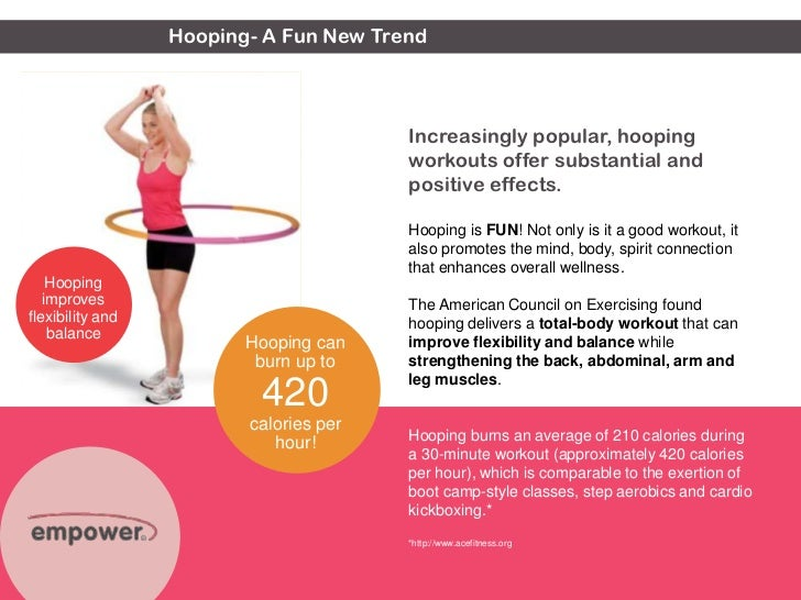 Hooping- A Fun New Trend <br />Hooping can burn up to 420 calories per hour!<br />Hooping improves flexibility and balance...