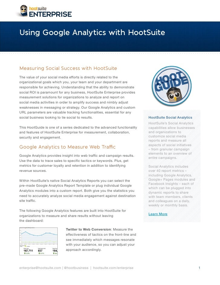 Using Google Analytics with Hootsuite