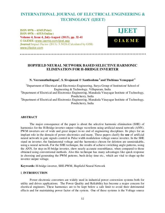 Hopfield neural network based selective harmonic elimination for h bridge