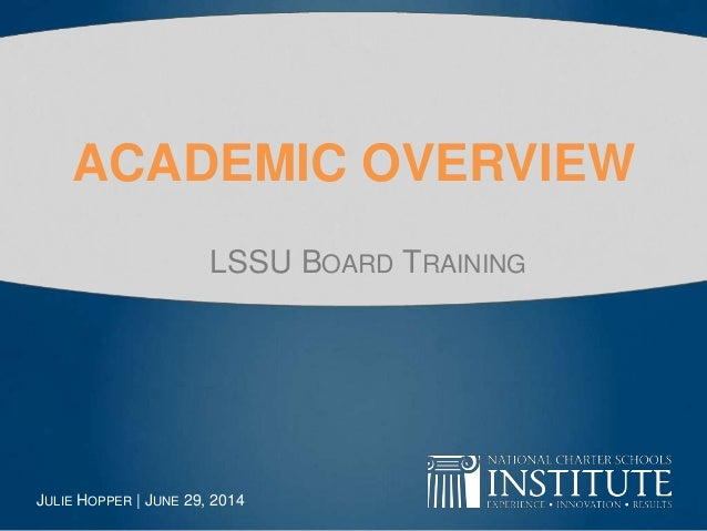 Academic Overview - Board Training (Lake Superior State University)