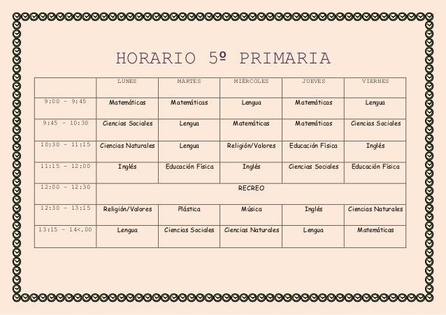 Horario 5 primaria for Horario de oficina correos