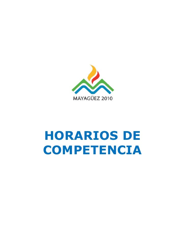 HORARIOS DE COMPETENCIA