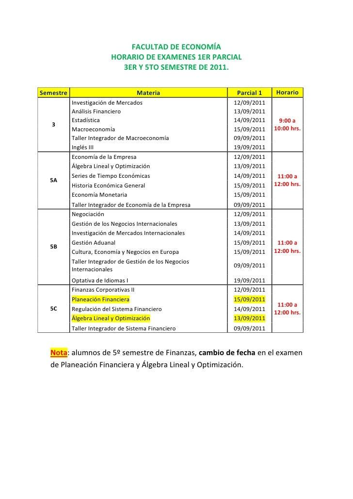 FACULTAD DE ECONOMÍA<br />HORARIO DE EXAMENES 1ER PARCIAL<br />3ER Y 5TO SEMESTRE DE 2011.<br />SemestreMateriaParcial 1Ho...