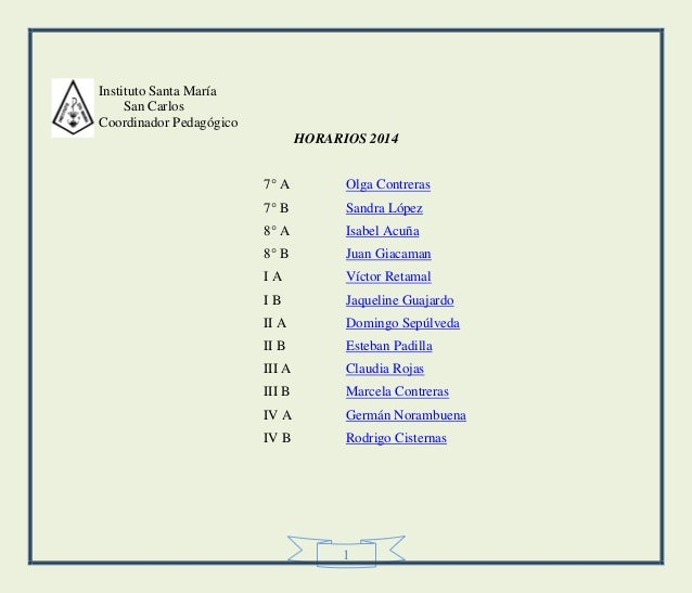 1 Instituto Santa María San Carlos Coordinador Pedagógico HORARIOS 2014 7° A Olga Contreras 7° B Sandra López 8° A Isabel ...