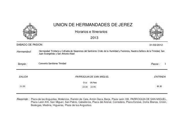 Horarios e itinerarios 2013