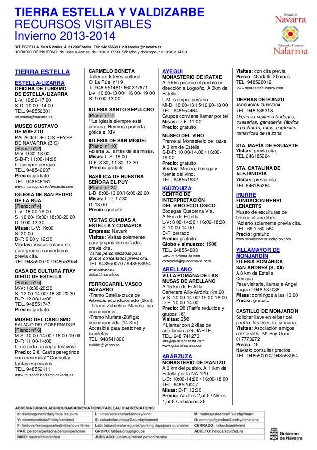 44  Horarios de la Oficina de Turismo de Estella  Lizarra  Invierno 2014