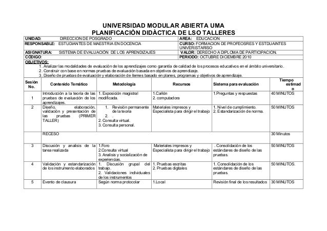 UNIVERSIDAD MODULAR ABIERTA UMA PLANIFICACIÒN DIDÀCTICA DE LSO TALLERES UNIDAD: DIRECCION DE POSGRADO RESPONSABLE: ESTUDIA...