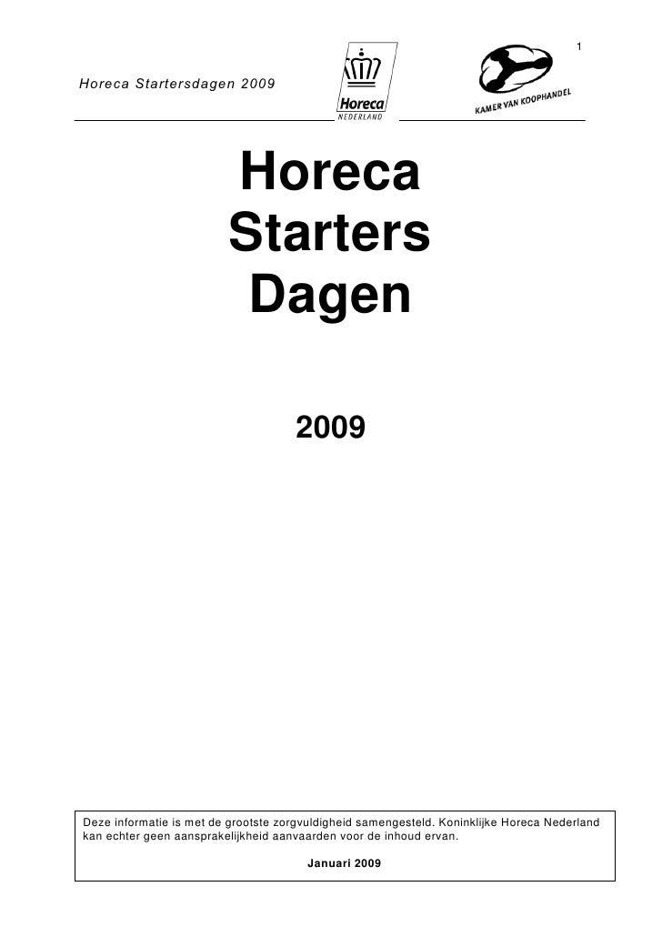 Horeca Starters Boek 2009