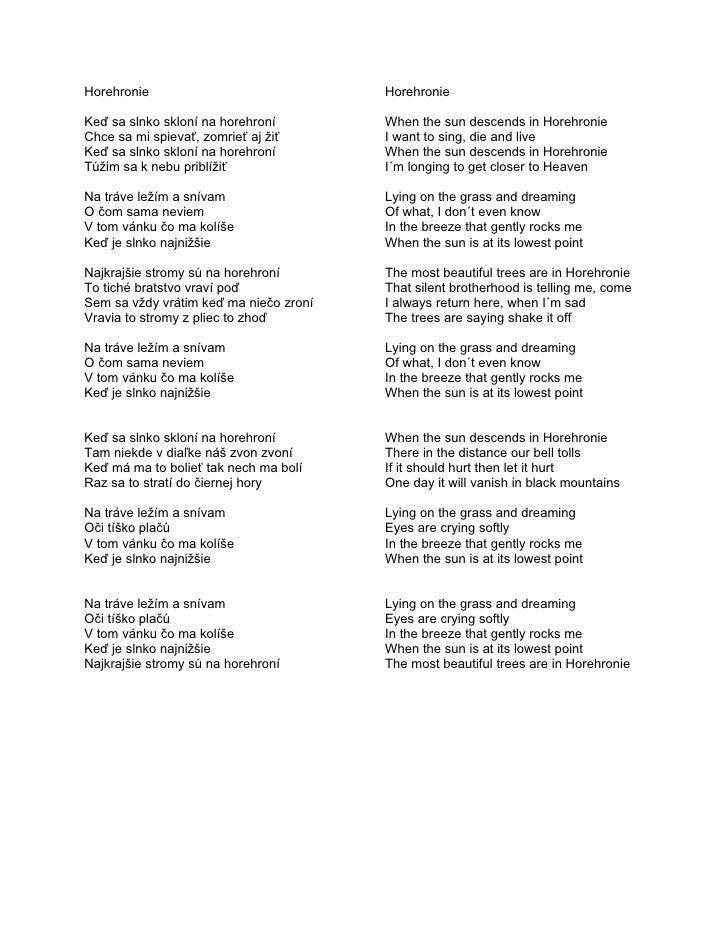 Horehronie   lyrics