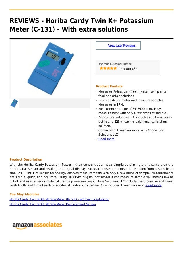 REVIEWS - Horiba Cardy Twin K+ PotassiumMeter (C-131) - With extra solutionsViewUserReviewsAverage Customer Rating5.0 out ...