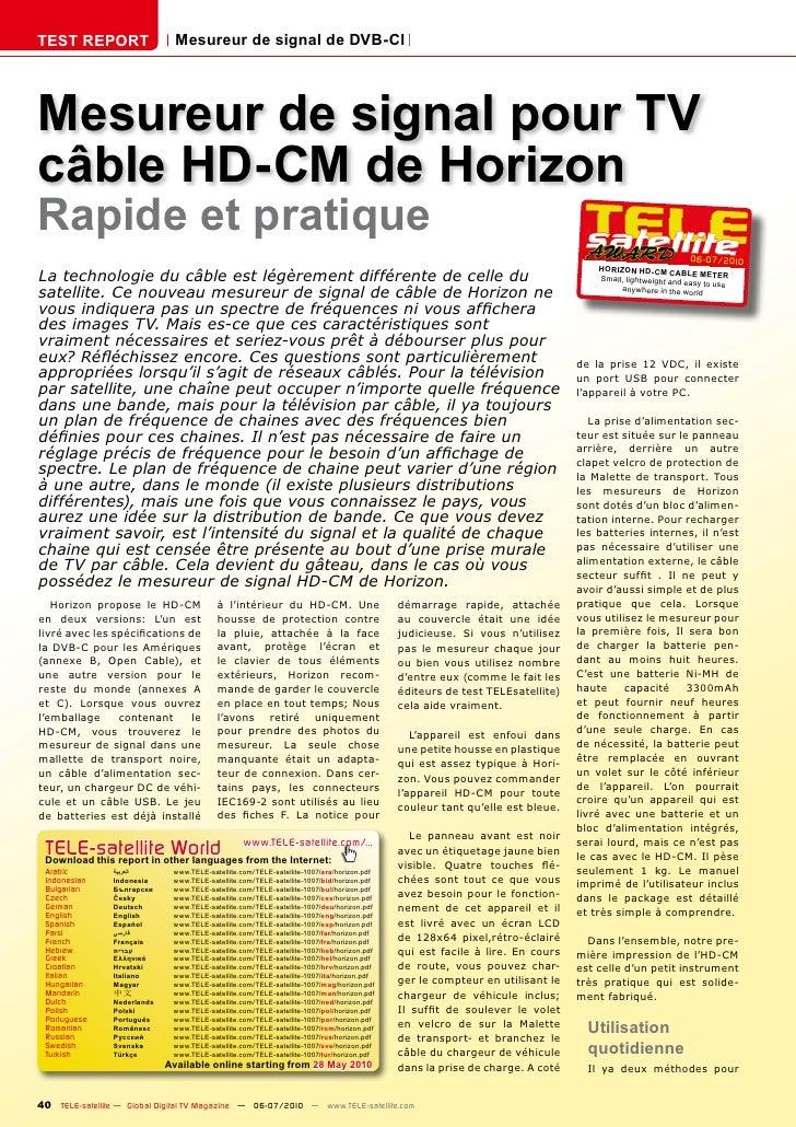 TEST REPORT                    Mesureur de signal de DVB-Cl     Mesureur de signal pour TV câble HD-CM de Horizon Rapide e...