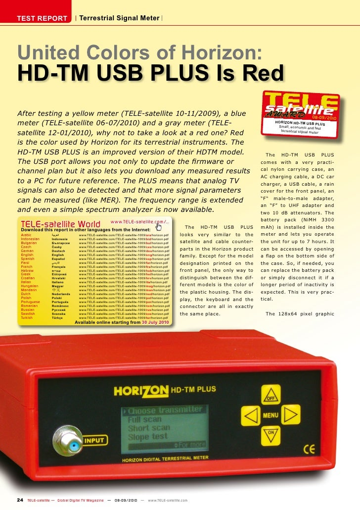 TEST REPORT                     Terrestrial Signal Meter     United Colors of Horizon: HD-TM USB PLUS Is Red After testing...