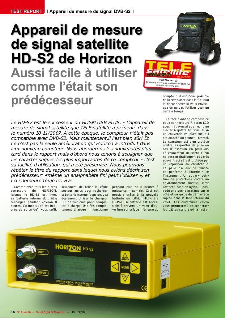 TEST REPORT                   Appareil de mesure de signal DVB-S2Appareil de mesurede signal satelliteHD-S2 de HorizonAuss...