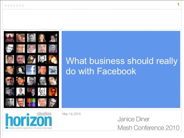 1       What business should really   do with Facebook    May 19, 2010                Janice Diner                Mesh Con...