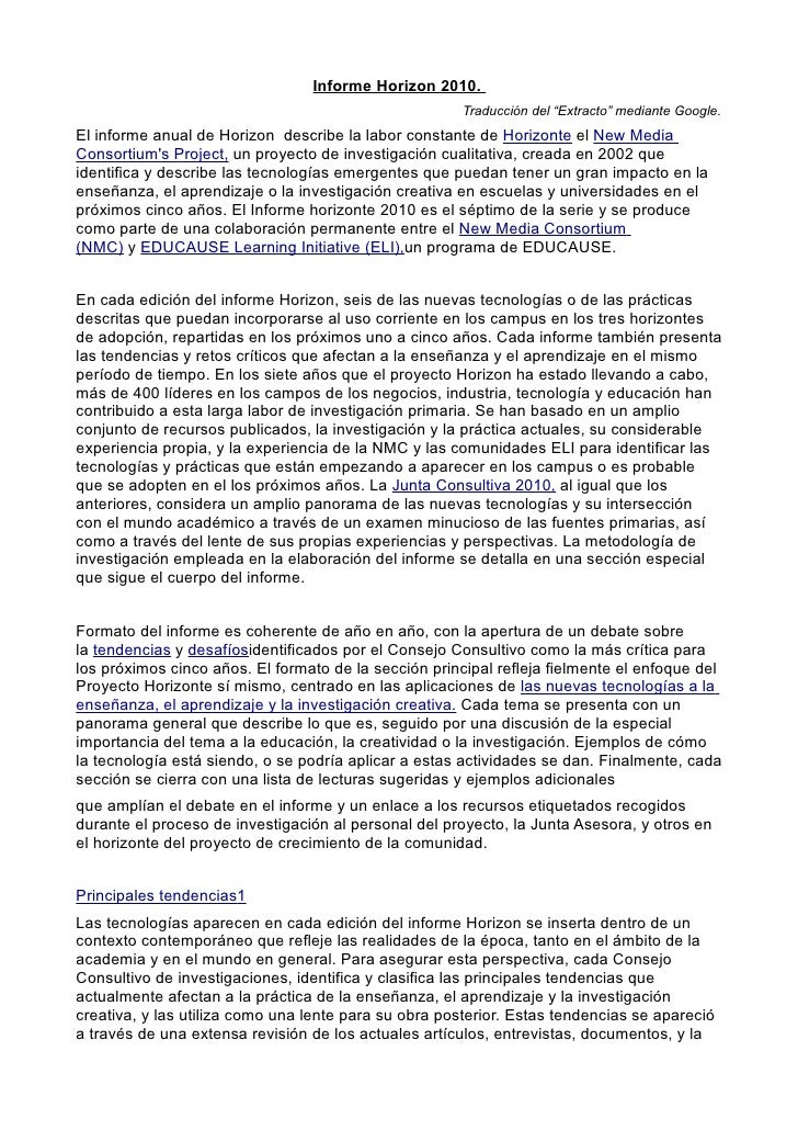 """Informe Horizon 2010.                                                        Traducción del """"Extracto"""" mediante Google. El..."""