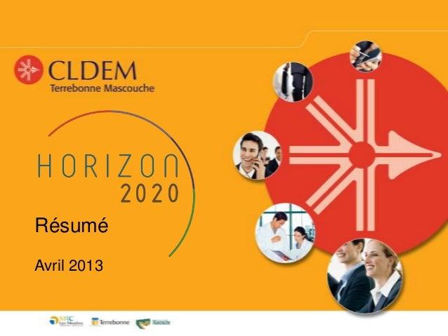 Horizon 2020 rapport sommaire AGA 2013
