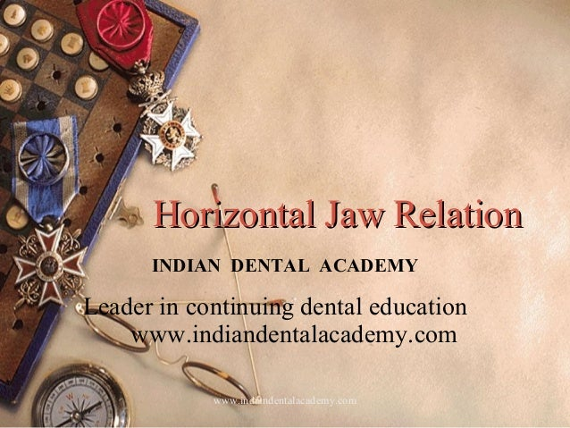 Horizontal Jaw RelationHorizontal Jaw Relation INDIAN DENTAL ACADEMY Leader in continuing dental education www.indiandenta...