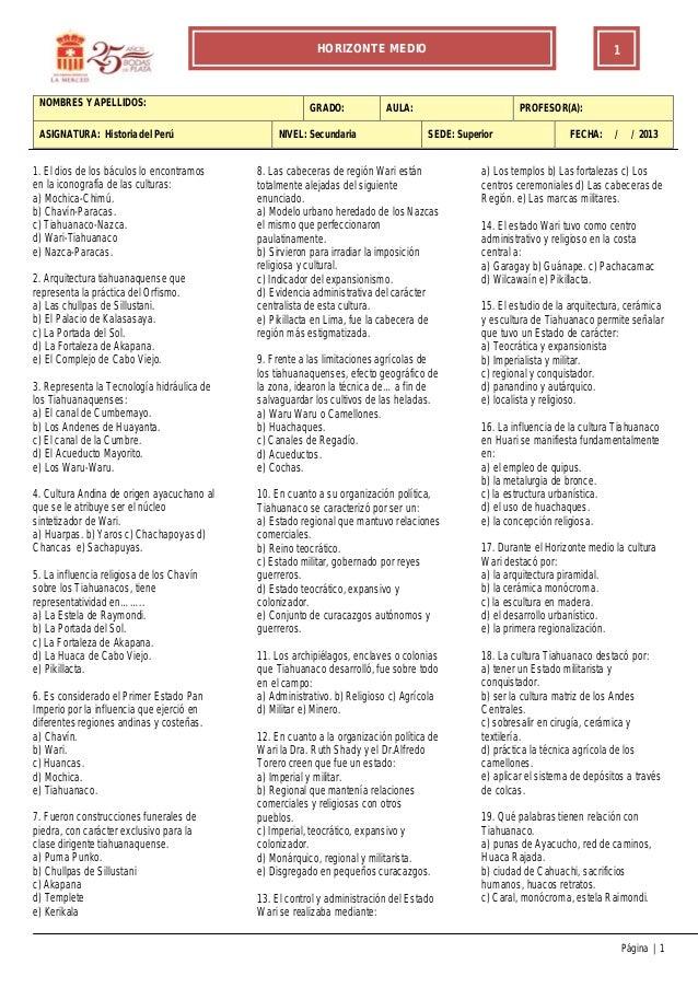 HORIZONTE MEDIO                                                     1 NOMBRES Y APELLIDOS:                                ...