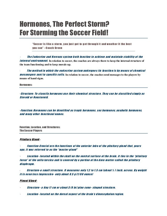 "Hormones, The Perfect Storm?For Storming the Soccer Field!            ""Soccer is like a stor m, you just got to get throug..."