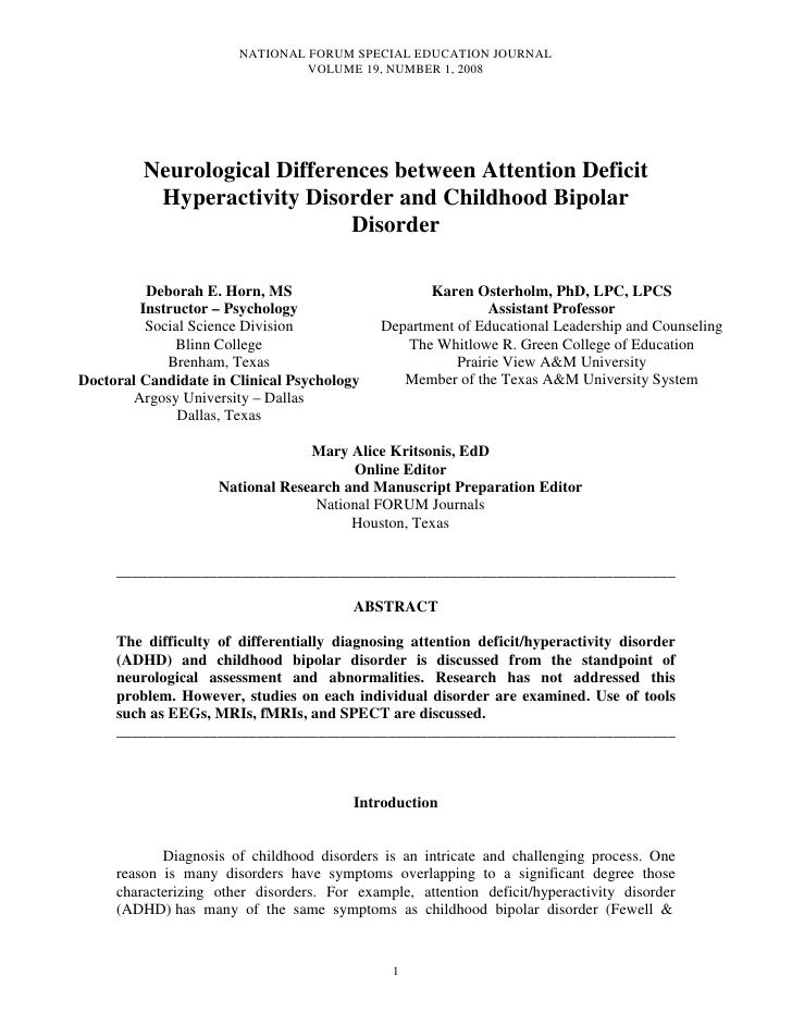 Horn, Deborah e[1]. neurological differences between adhd and childhood bipolar disorder