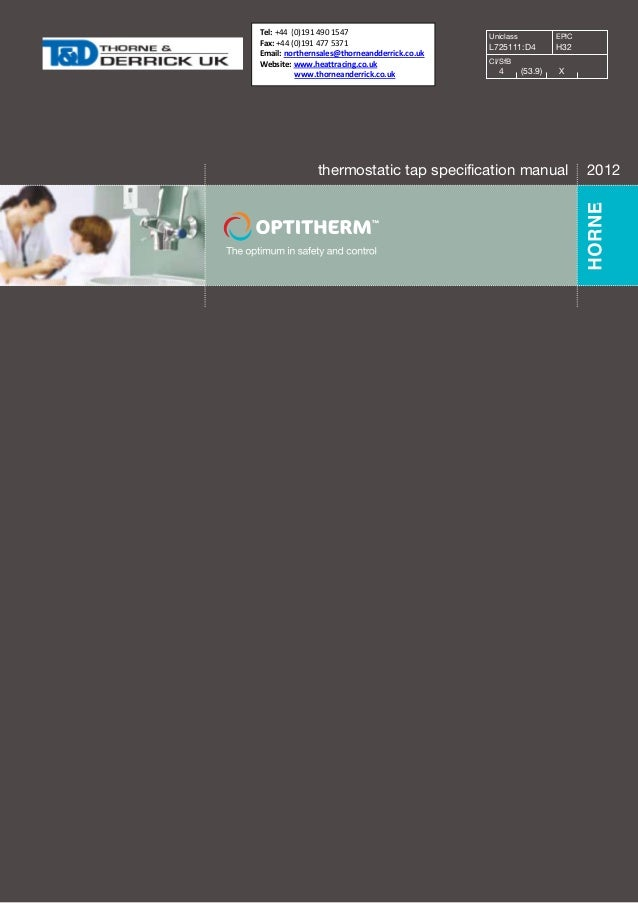 Horne OPTITHERM Thermostatic Mixing Tap - Specification Manual
