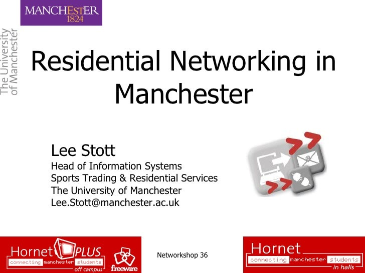 Residential Networking in       Manchester  Lee Stott  Head of Information Systems  Sports Trading & Residential Services ...
